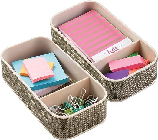 blanco Bandeja de oficina para escritorio o caj/ón Con 4 compartimentos para el material de oficina: l/ápices mDesign Juego de 2 organizadores de escritorio clips post-it etc