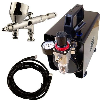 Airbrush-City Juego Completo de aerógrafo Mini compresor AS18B Pistola de pulverización ABC-180