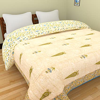 Buy Toy & Joy Singh Hand Block Bell Flower Printed Quilt-TJ-QD-C-BF ...