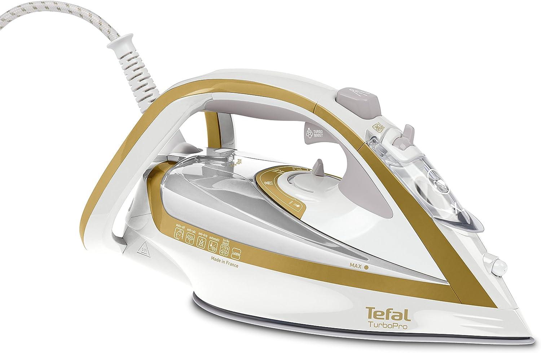Tefal TurboPro FV5625 - Plancha (Plancha vapor-seco, Durilium Autoclean soleplate, 2 m, 210 g/min, Oro, Blanco, 50 g/min)