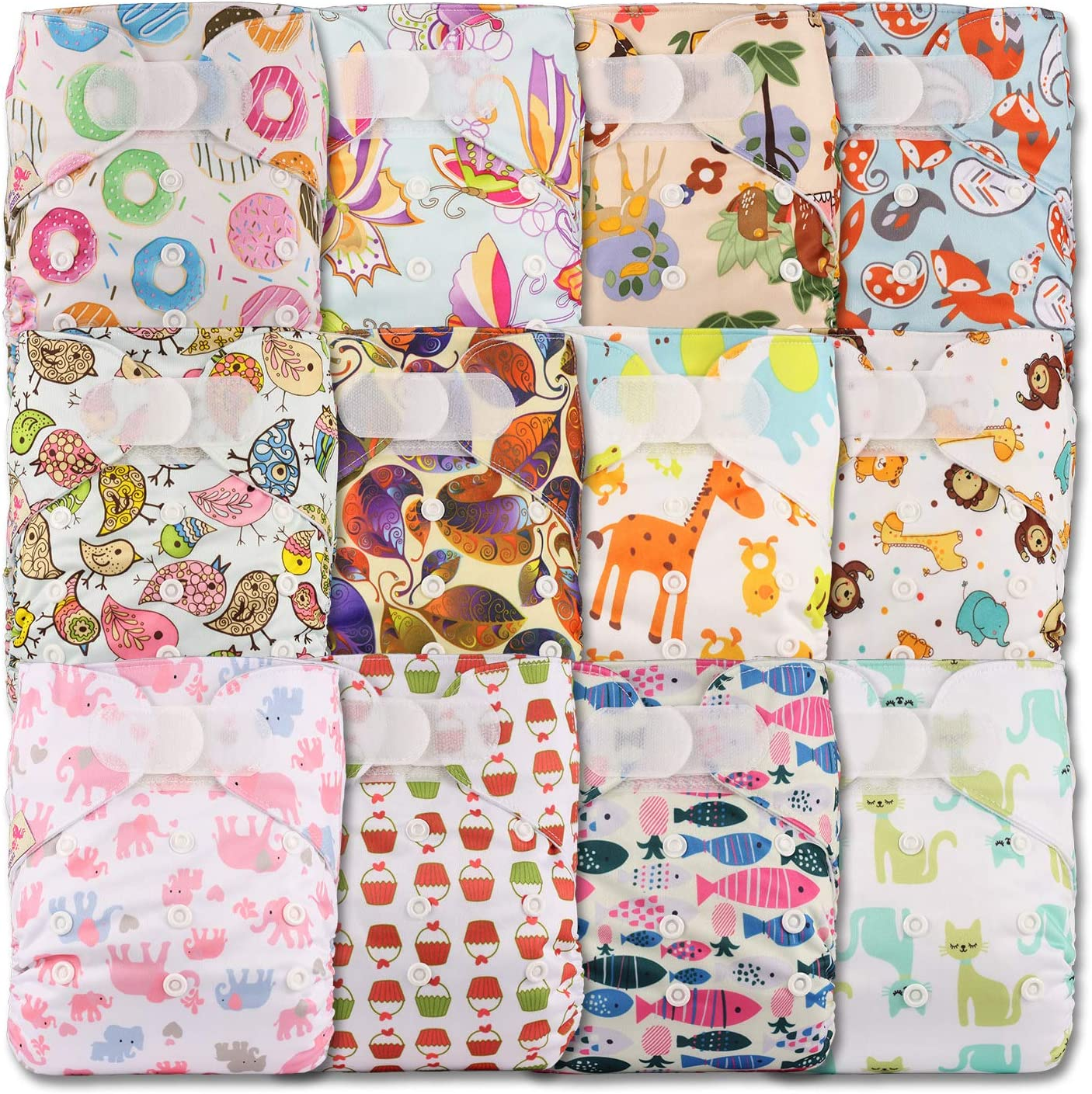 Patterns 1202 Without Insert Set of 12 Reusable Pocket Cloth Nappy Fastener: Popper Littles /& Bloomz