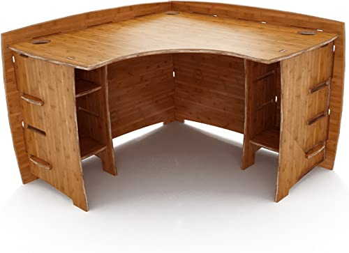 Legar Furniture Corner L-Shaped Office Desk, Home Computer Desk, No Tool Assembly with Adjustable Shelves, 47-Inch Width, Amber Bamboo