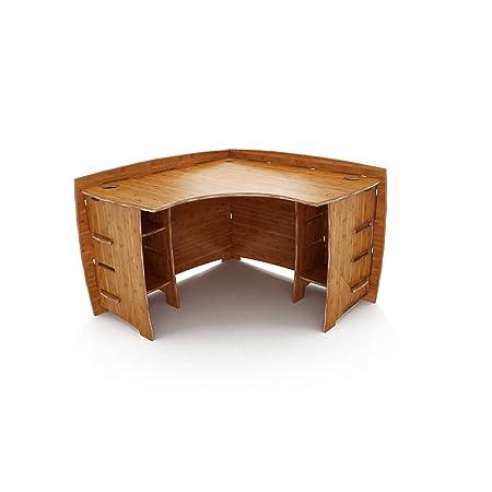 Legar Furniture Corner L-Shaped Office Desk, Home Computer Desk, No Tool Assembly with Adjustable Shelves, Amber Bamboo