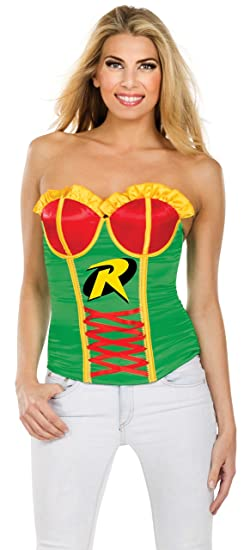 Secret Wishes DC Comics Justice League Superhero Style Adult Corset Top with Logo Robin Red  sc 1 st  Amazon.com & Amazon.com: Rubies Womens Sexy Robin Batman Halloween Costume Corset ...