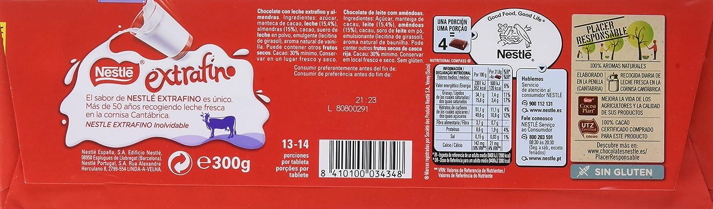 NESTLÉ EXTRAFINO Chocolate con Leche y Almendras - Tableta de Chocolate 300g: Amazon.es: Amazon Pantry