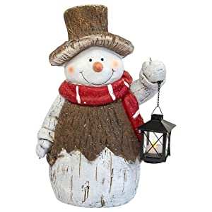 Mark Feldstein Woodsy Snowman Door Greeter w/LED Tea Light Lantern