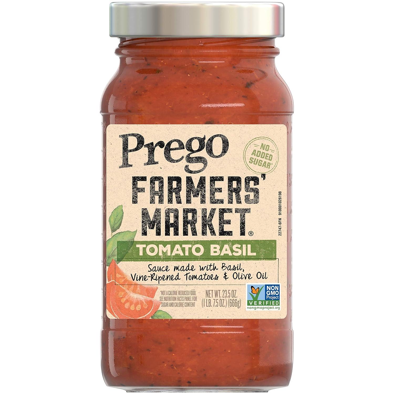 Prego Pasta Sauce, Farmers' Market Tomato Sauce with Basil, 23.5 Ounce Jar