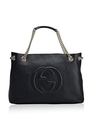 f6bc76b7070 Image Unavailable. Image not available for. Color  Gucci Womens Soho Leather  Chain Straps Shoulder Handbag Black Large