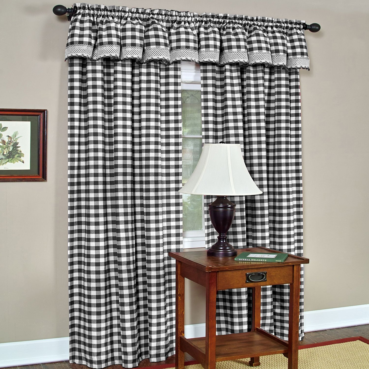 Achim Home Furnishings Buffalo Check Window Curtain Panel, Black/White