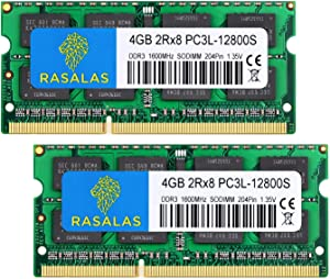 Rasalas 8GB Kit (2x4GB) DDR3L 1600MHz SODIMM, 4GB DDR3 DDR3 1600 PC3-12800 DDR3 2Rx8 PC3L-12800S 1.35V 204-Pin CL11 Dual Rank Ram Laptop Chips