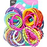 Goody Ouchless Assorted Elastics Hair Ties - 60 Count, Assorted In Brights and Pastels- Perfect for Girls with Fine, Curly Ha