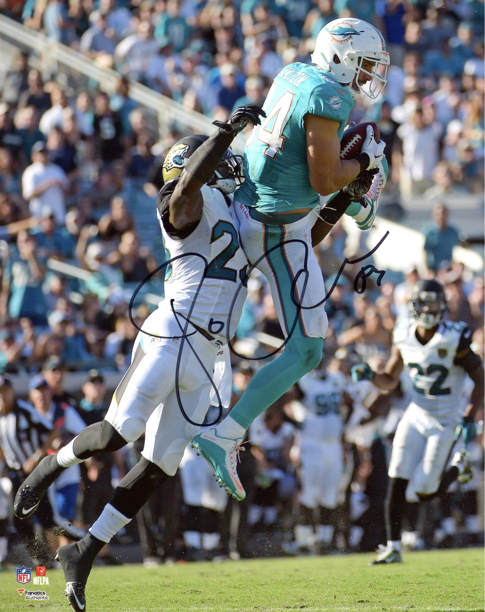 """Jordan Cameron Miami Dolphins Autographed 8"""" x 10"""" Catch vs Jacksonville Photograph Fanatics Authentic Certified"""