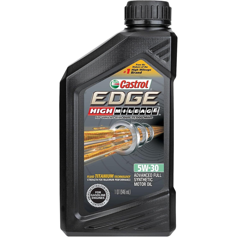 Castrol 06128 EDGE High Mileage 5W-30 Advanced Full Synthetic Motor Oil, 1 quart 15979F