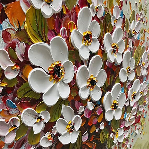 Amazon.com: baccow - 3D Oil Paintings, 24x48' Hand-Painted White Flowers  Painting Canvas Texture Modern Abstract Framed Wall Art for Living Room:  Posters & Prints