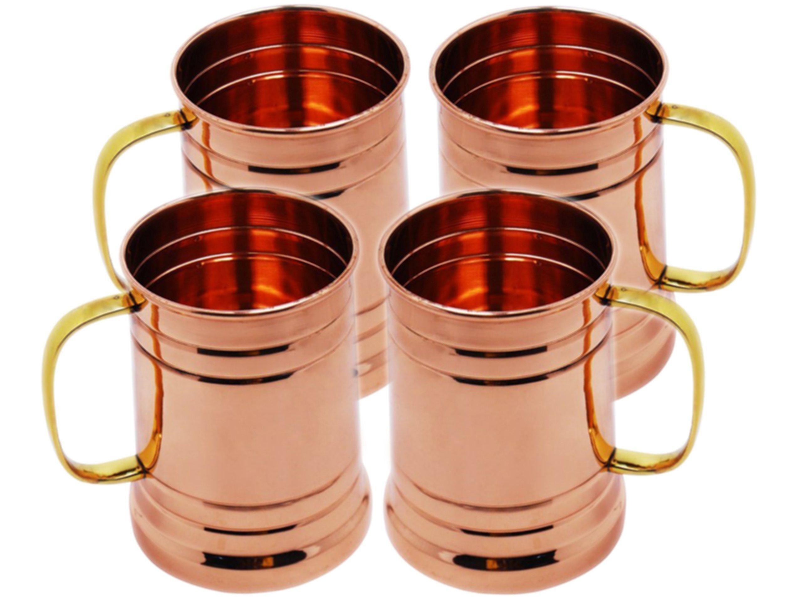 STREET CRAFT Set of 4 Copper Tankard Large Moscow Mule Mug Copper Mugs Capacity 20 Ounce