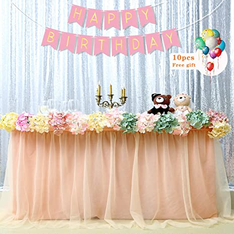 Amazon.com: B-Cool Falda de mesa de tul rosa de 3 yardas ...