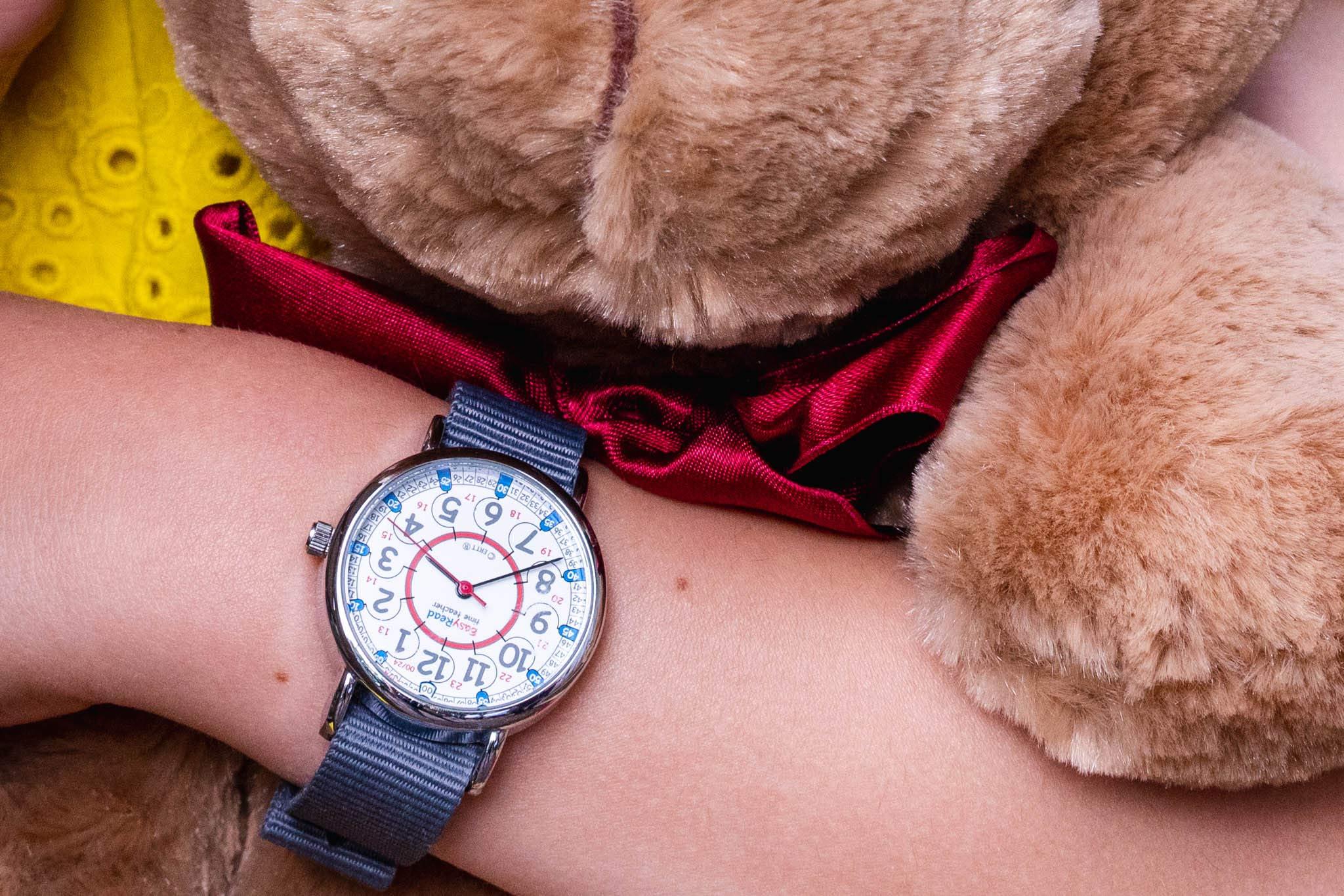 EasyRead Time Teacher Children's Watch, Red Blue 12/24 Hour Face, Grey Strap by EasyRead Time Teacher (Image #5)