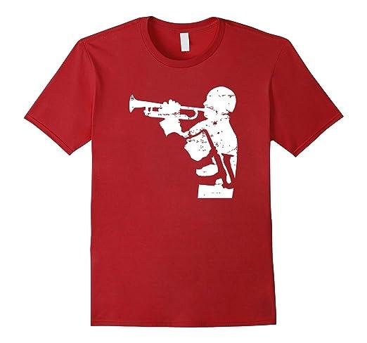 Mens Jazz Trumpet and Saxophone Musicians T-shirt 2XL Cranberry