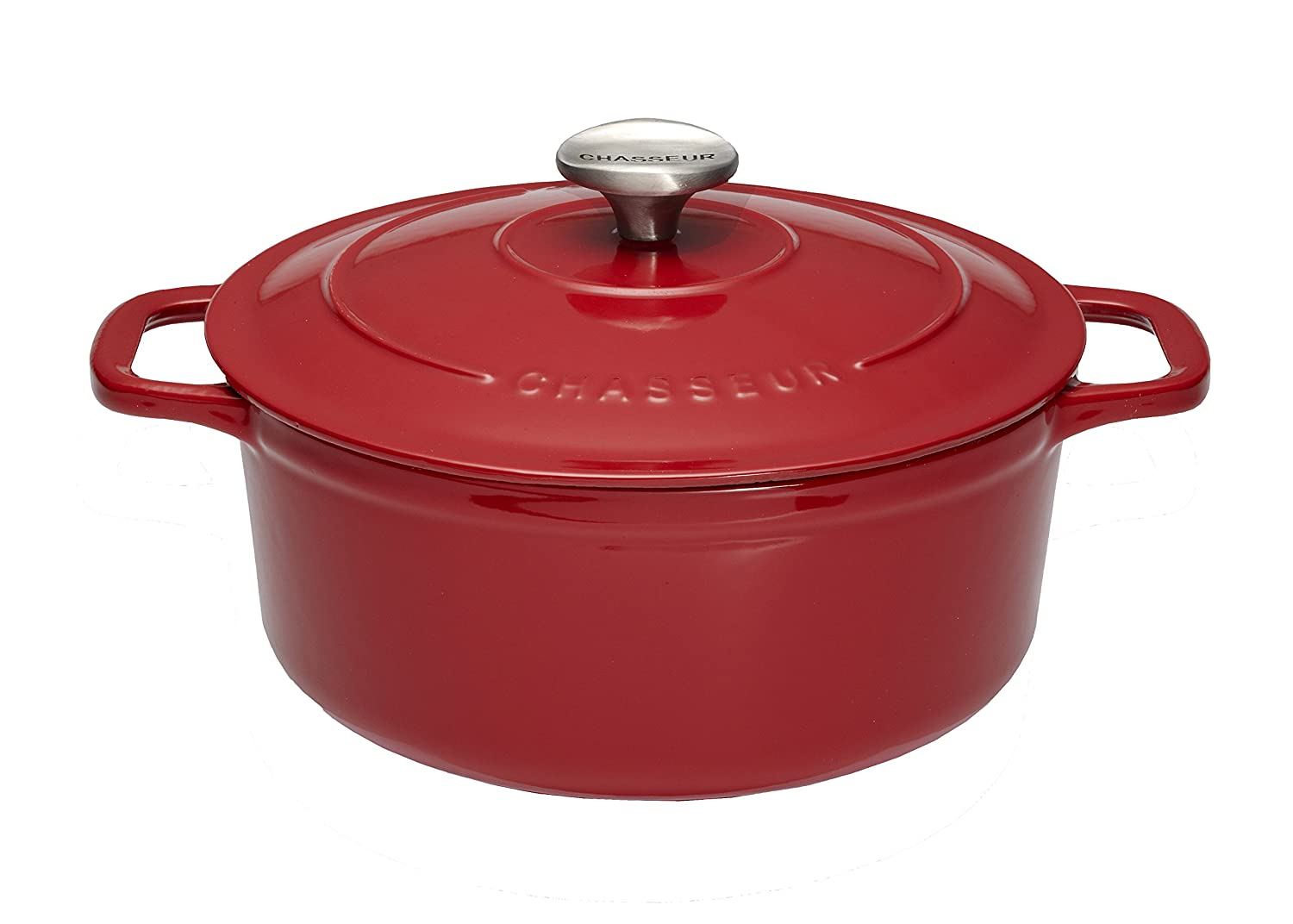 Chasseur 3.25-quart Red French Enameled Cast Iron Round Dutch Oven