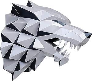 Paperraz DIY 3D Wolf Head Animal PaperCraft Building Kit Wall Mount - NO Scissors Needed