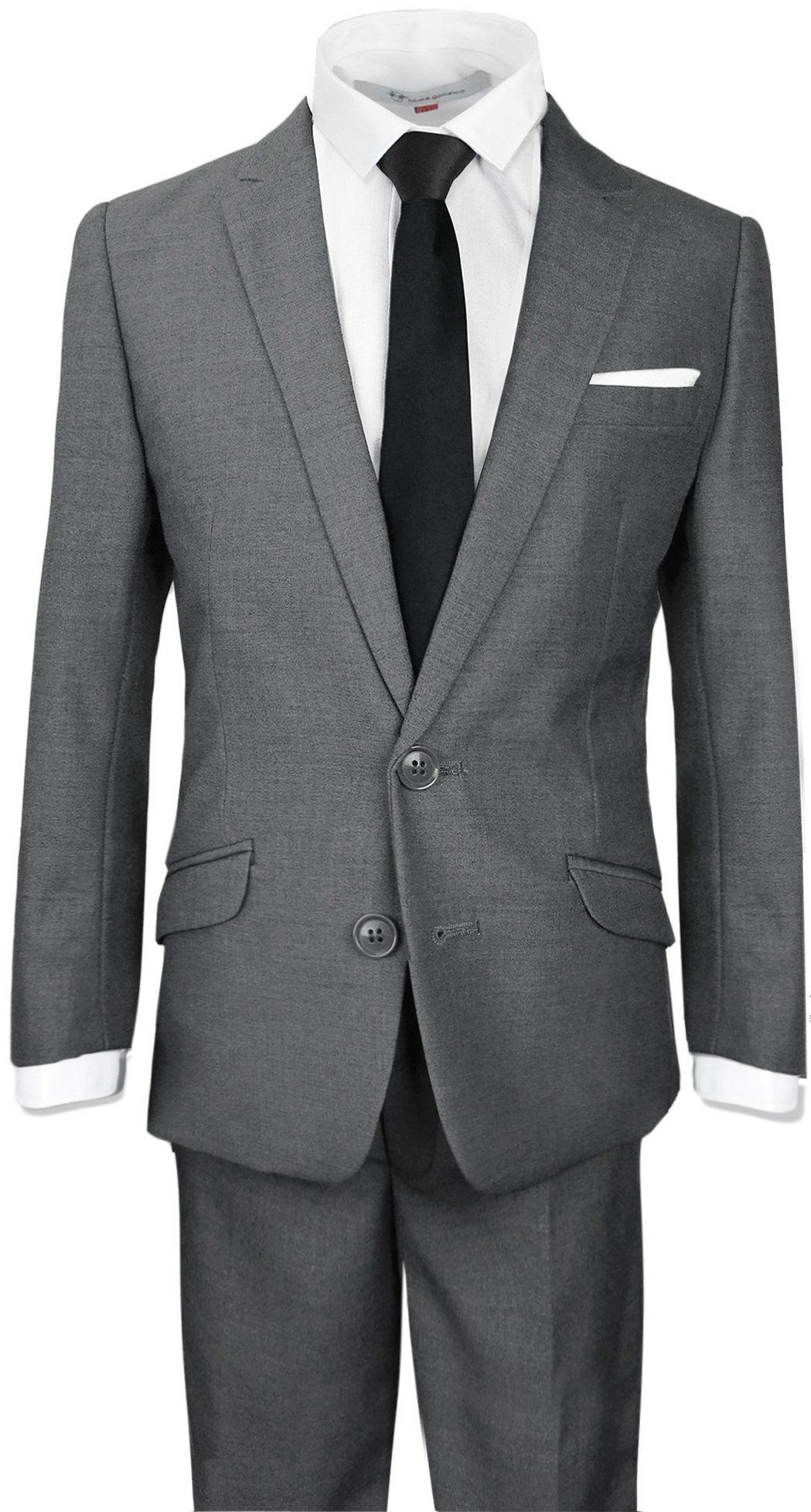 Black n Bianco Boys Signature Slim Suit in Dark Grey Size 7