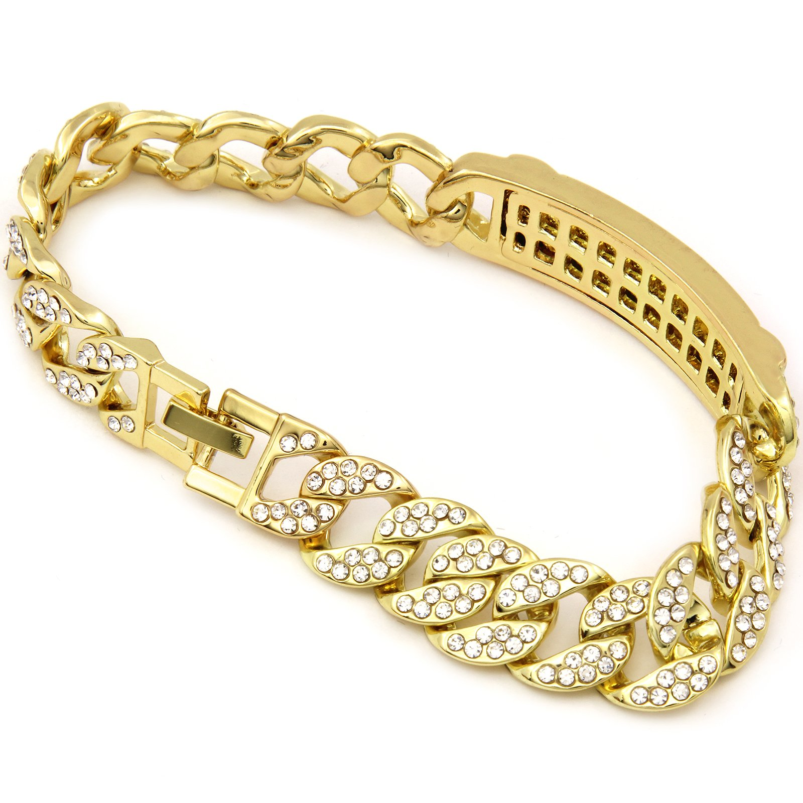 Men's Hip Hop 14k Gold Plated Iced Out Cz 15mm 9'' Bracelet Miami Cuban Style Chain Link (s)