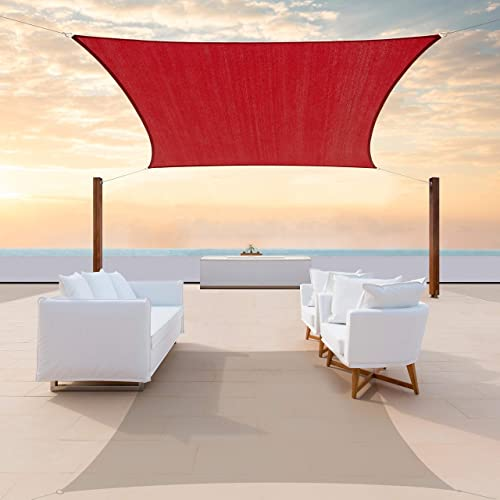 ColourTree CTAPR1020 Custom Size 20' x 22' Red Sun Shade Sail Canopy UV Block Rectangle