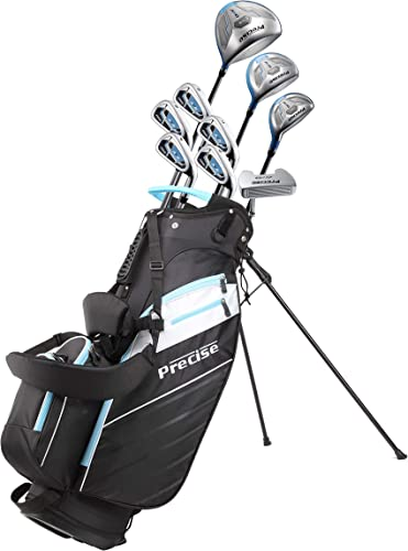 Precise AMG Ladies Womens Complete Golf Clubs Set Includes Driver, Fairway, Hybrid, 6-PW Irons, Putter, Stand Bag, 3 H C s – Choose Color and Size