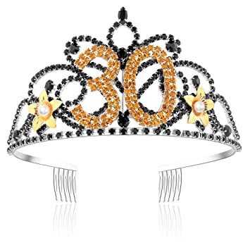 Frcolor 30th Birthday Tiara Crystal Rhinestone Women 30th Birthday Crown with Combs (Gold) b9GrOa6RE