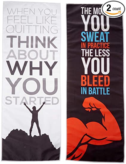 Microfiber Sport Towels with Motivational Quotes - Hand and Face Gym Towels  - Quick Drying and 9074eff3b6f70