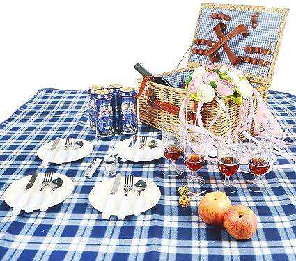 Amazon.com: Cesto de pícnic de mimbre Woworld para 4 ...