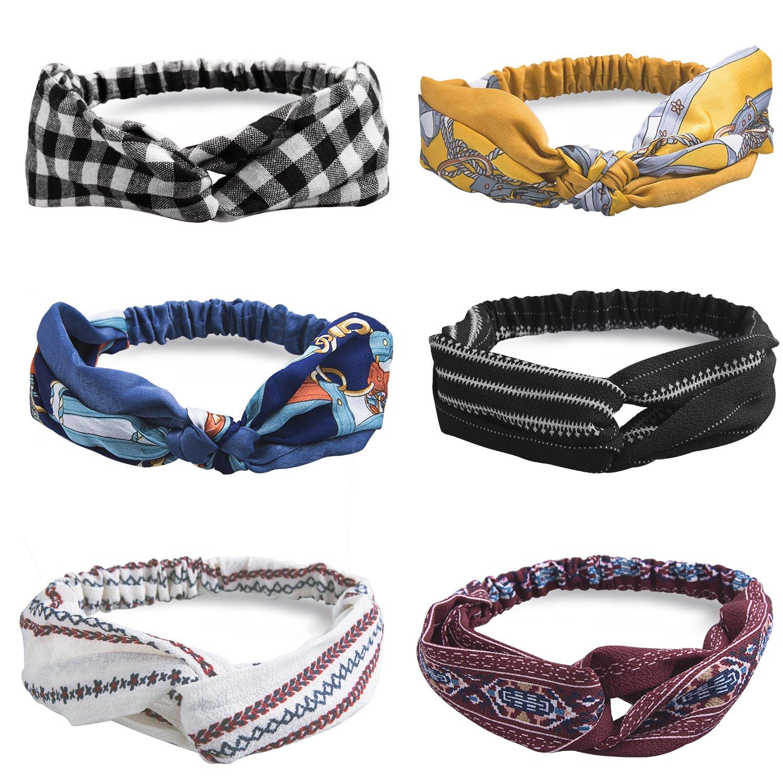 HBselect 6-10 PCS Headbands Vintage élastique Imprimé Tête Enveloppe Extensible Humidité Hairband Twisted,andeaux Nœud Fleur,Bandeaux Bande Elastique Cheveux Pour Femme …