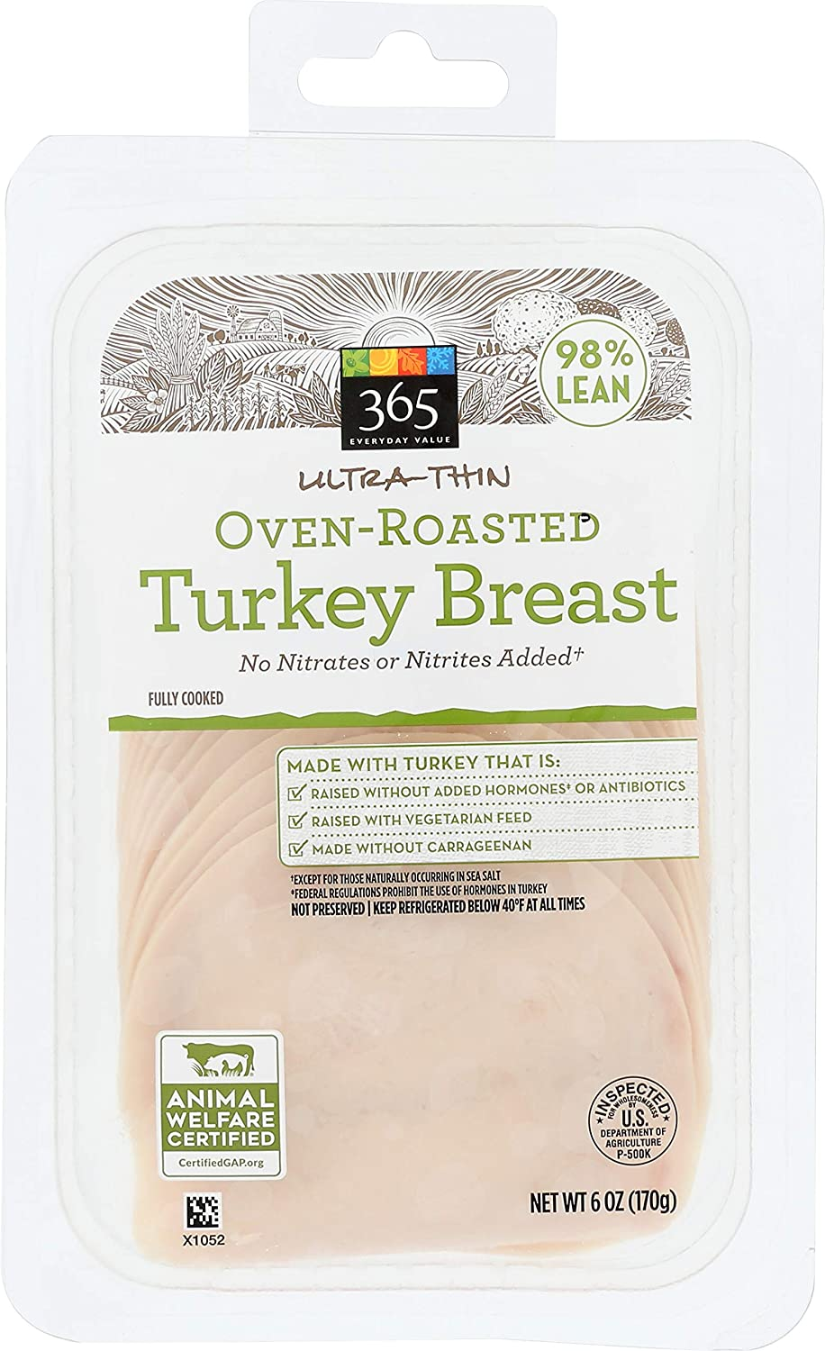365 Everyday Value, Oven-Roasted Turkey Breast Ultra-Thin Deli Slices, 98% Lean, 6 oz