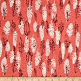 Cotton Jersey Knit Feathers on Coral Fabric By The Yard