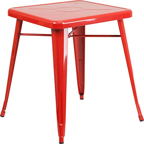 Flash Furniture Commercial Grade 23.75″ Square Red Metal Indoor-Outdoor Table