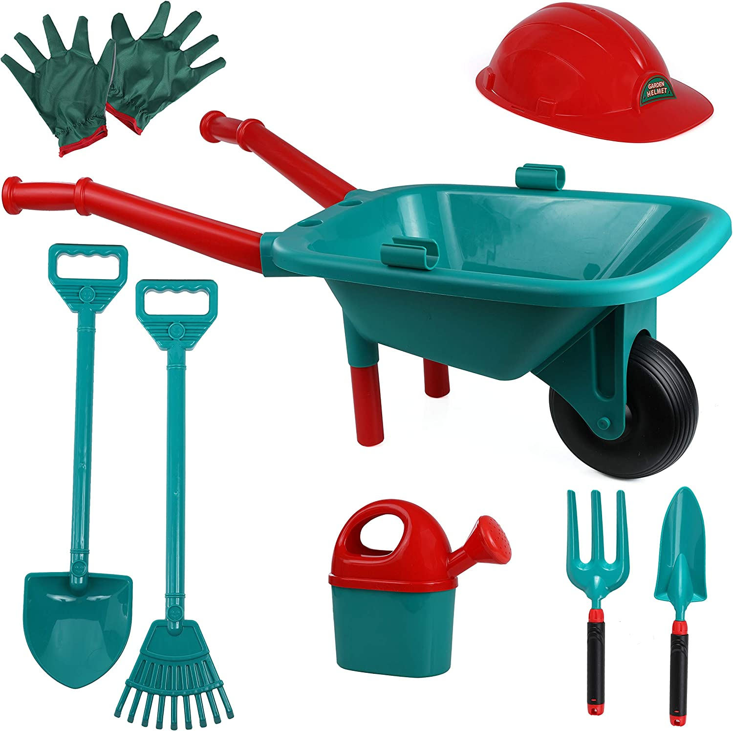 High Bounce Kids Plastic Wheelbarrow with Garden Accessories- Gardening Gloves, Watering Can, Shovel, Hoe, Rake, Fork and Hat