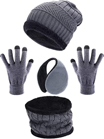 a7fd45eb767 4 Pieces Ski Warm Set includes Winter Hat Scarf Warmer Gloves Winter  Outdoor Earmuffs for Adults Kids (Set 2)  Amazon.co.uk  Clothing