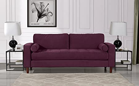Review Mid Century Modern Velvet Fabric Sofa, Couch with Bolster Pillows (Purple)