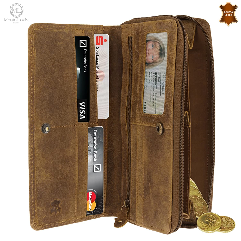 573074baaa87c Monte Lovis Portemonnaie Leder Geldbörse Geldbeutel im Hochformat mit  Münzfach  Amazon.de  Schuhe   Handtaschen