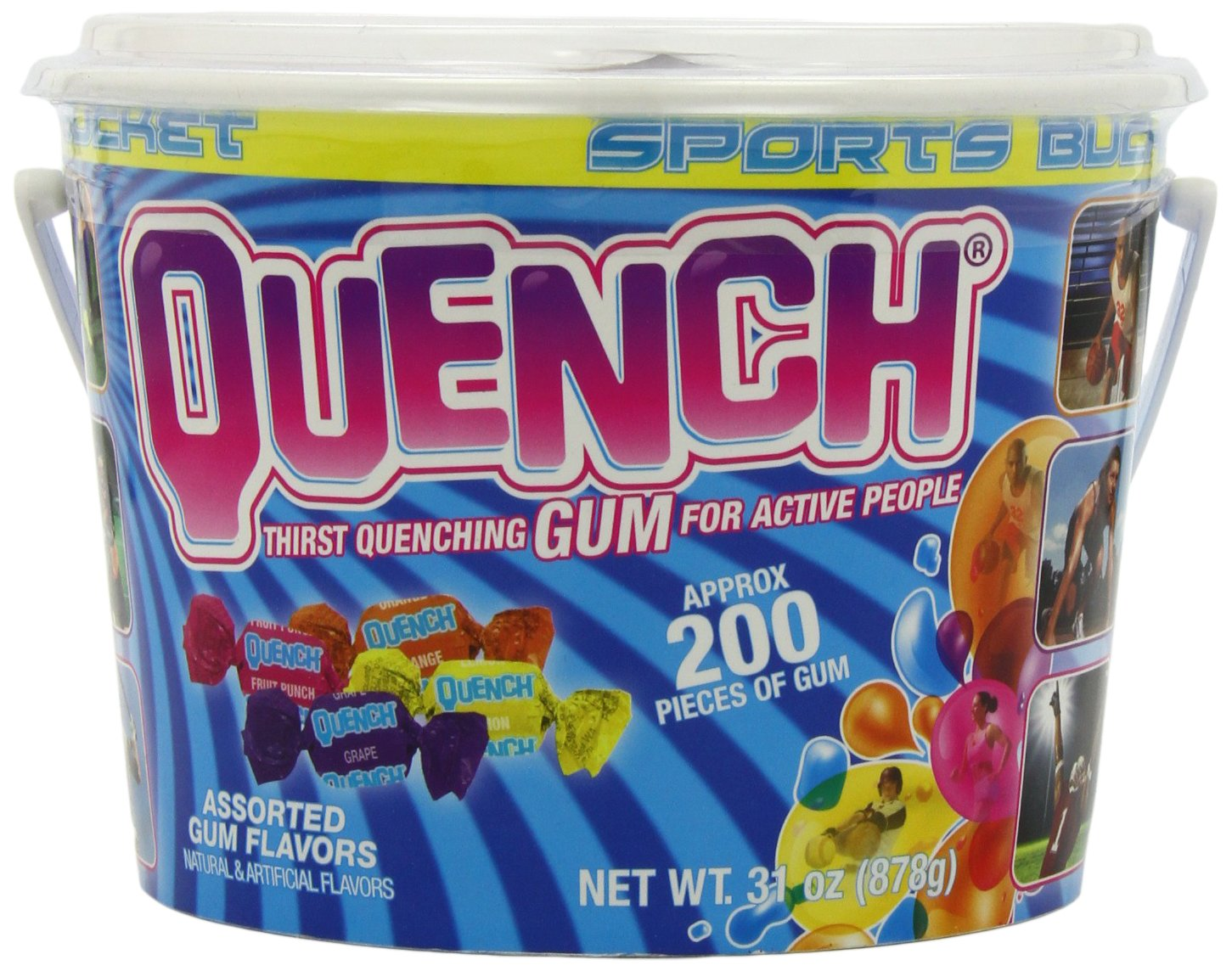 Quench Gum Sports Team Chewing Gum Bucket, 200 Count
