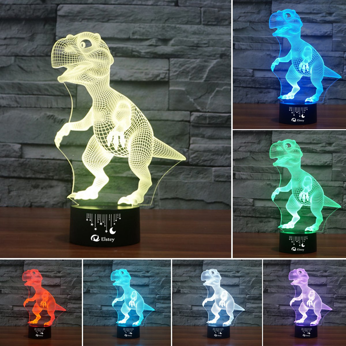 Dinosaur 3D Night Light Touch Table Desk Lamp, Elsley 7 Colors 3D Optical Illusion Lights with Acrylic Flat & ABS Base & USB Cabler for Christmas Gift by Elstey (Image #3)