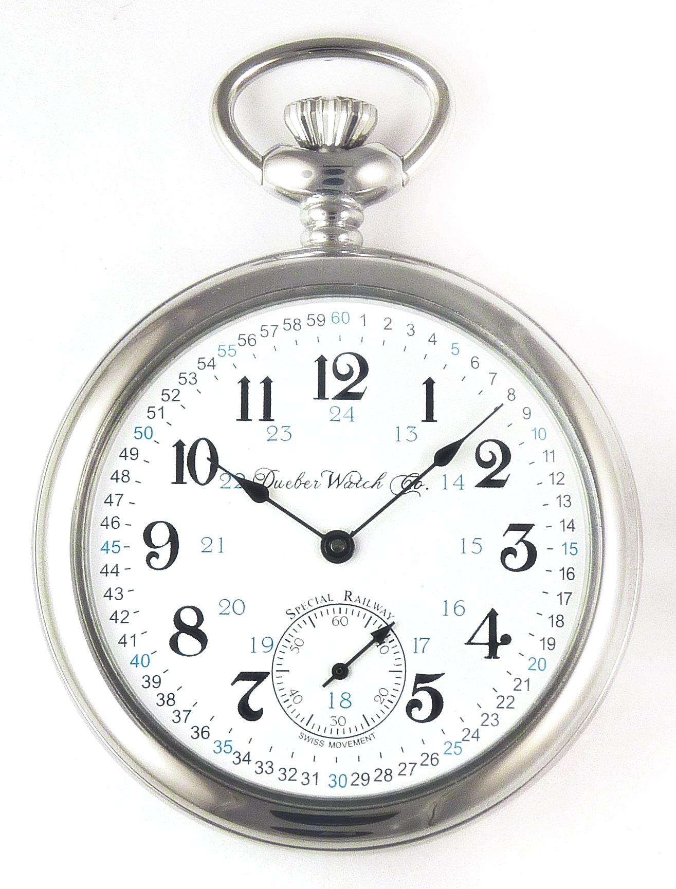 Dueber Special Railway Swiss Mechanical Pocket Watch High Polish Chrome Open Face Case - USA!