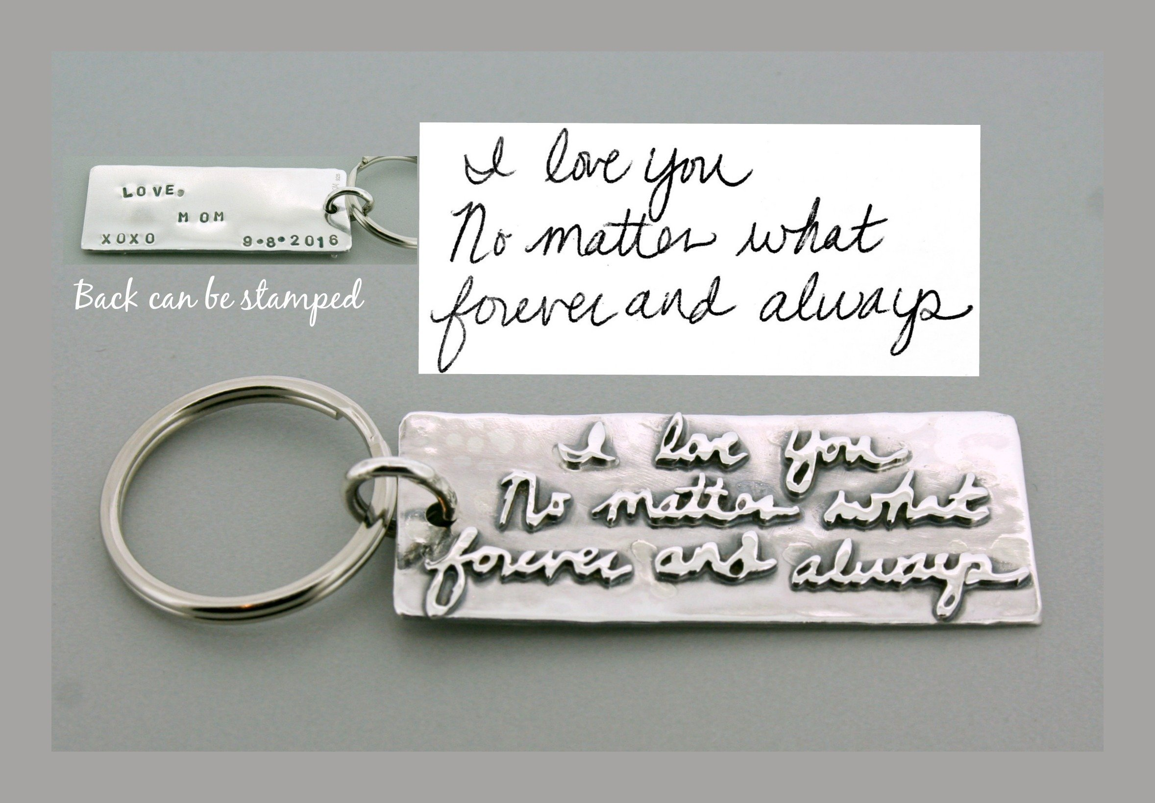 Sterling Silver Handwriting Keychain by Courtney Marie Jewelry
