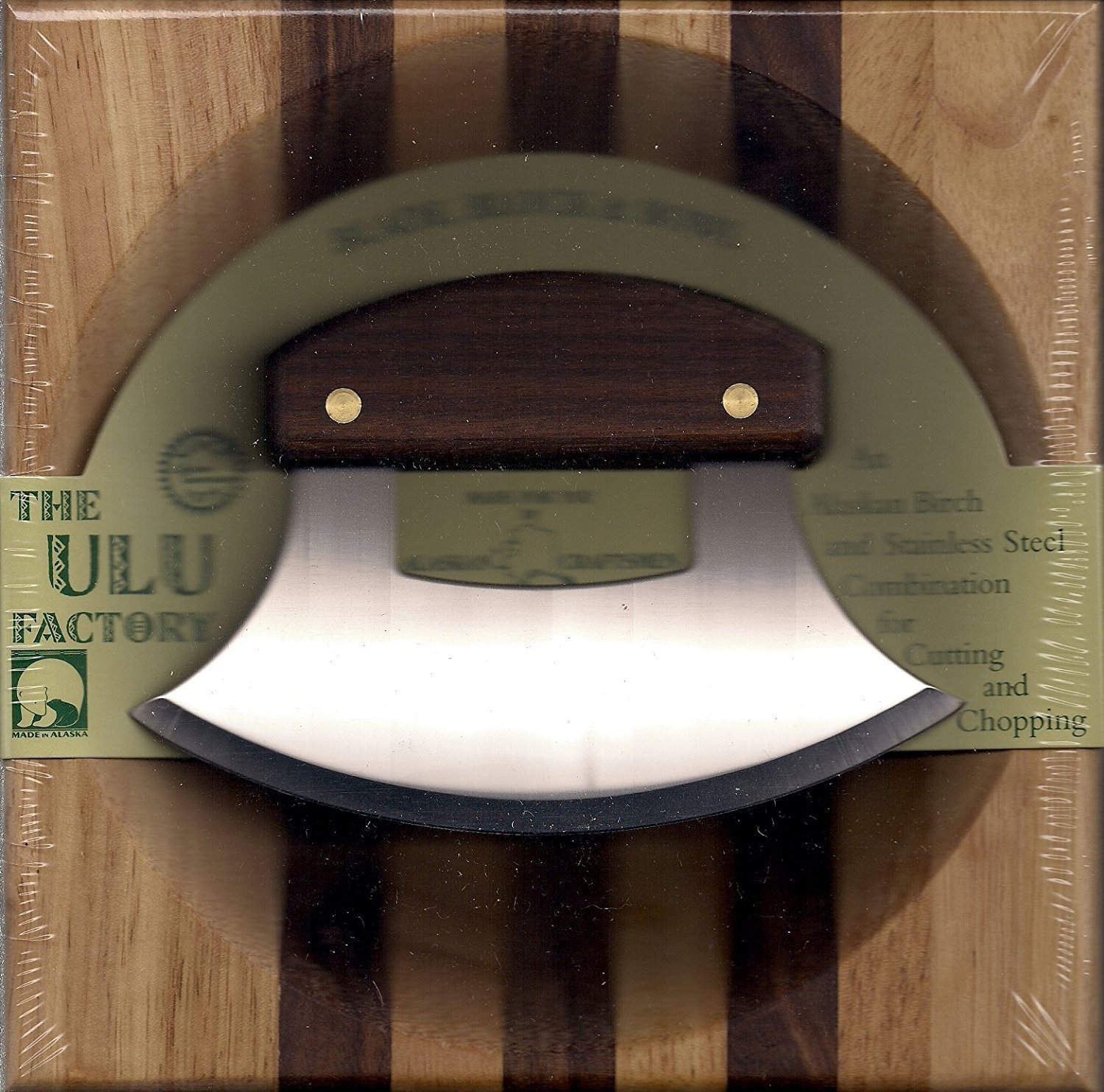 8 Block with Deep Dish Chopping Bowl and Walnut Handled Ulu The Ulu Factory SYNCHKG036415