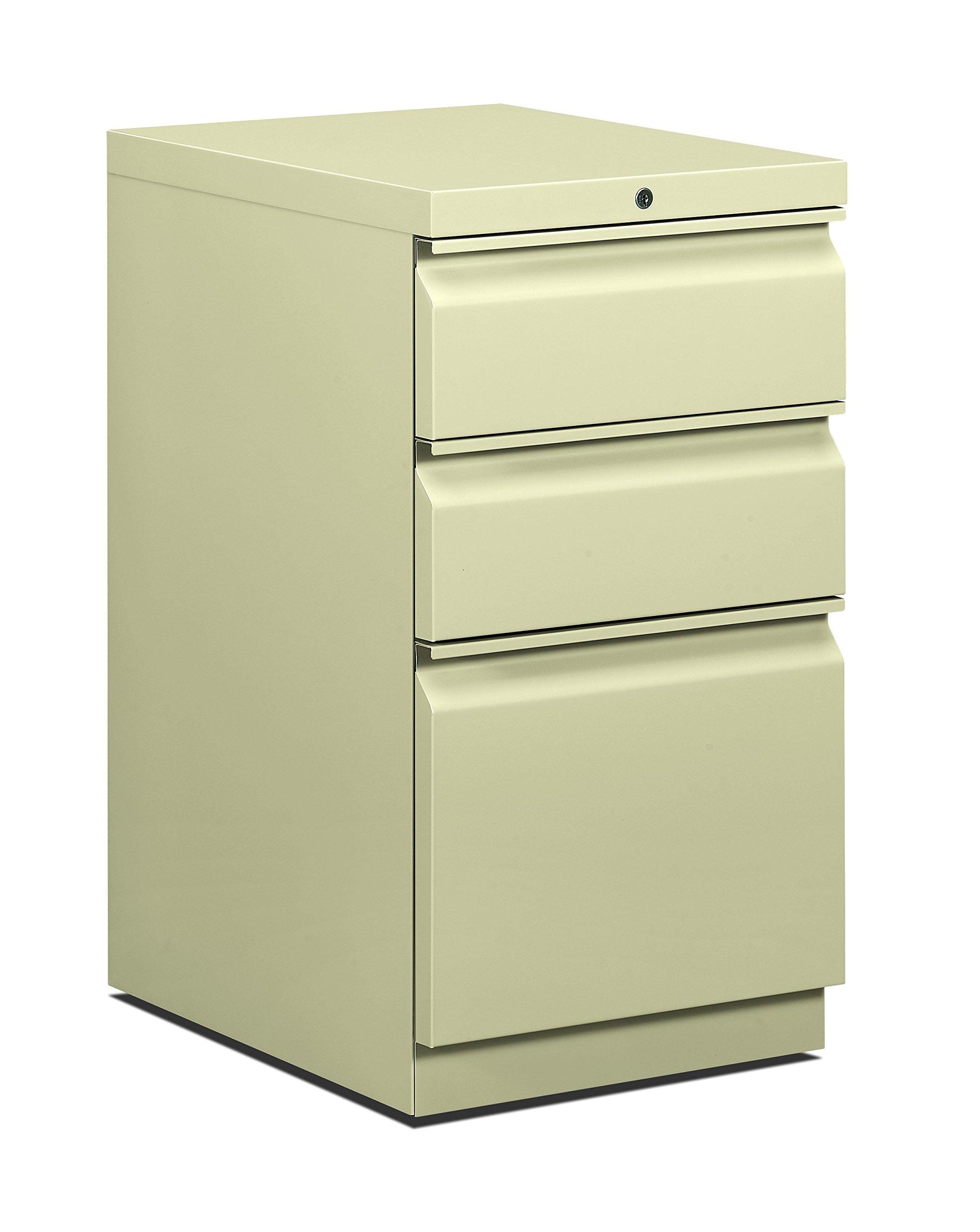 HON Brigade Mobile Pedestal | 2 Box / 1 File Drawer | Radius Pull | 15''W | Putty Finish