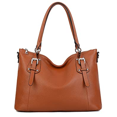 a8c91e94232b Amazon.com: YALUXE Women's Leather Tote Shoulder Bag Handbag ...
