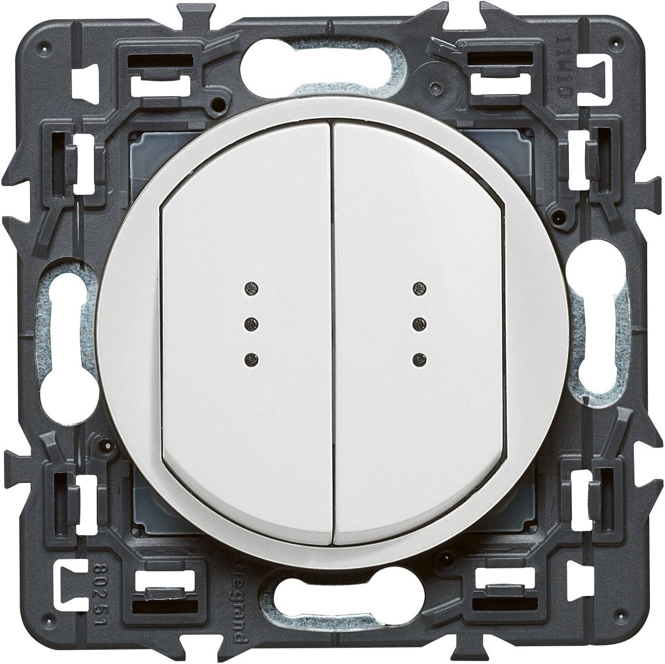 Blanc 250 V Legrand 099505 C/éliane Interrupteur double t/émoin