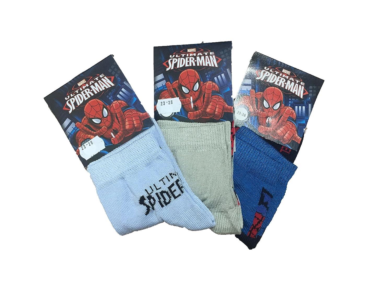3 paia Calze da Bambino Spiderman Calzini Bimbo Ufficiali Marvel Uomo Ragno (31-34)