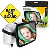Baby Car Mirror for Backseat View of Your Baby in Rear Facing Car Seat. Best New Mum and Dad. Sturdy Straps and Shatter-Proof Glass