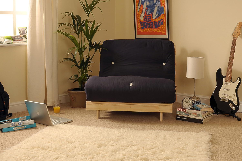 Comfy Living 2ft6 Small Single Wooden Futon Set BLACK Mattress